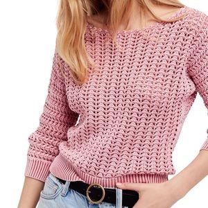 Free People Pink Boomerang Crochet Sweater Small